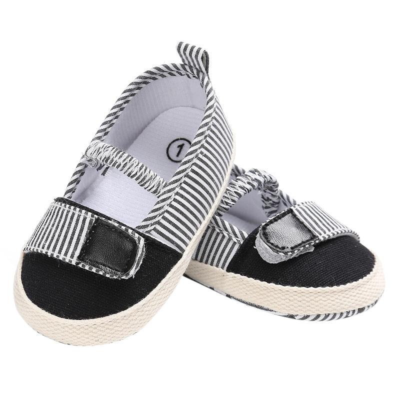 Для маленьких девочек в полоску для малышей Холст мелкой Эластичная лента Обувь для малышей на мягкой подошве Мокасины новое поступление
