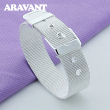 925 Jewelry Fashion Web Watch Belt Wristband Bracelet For Women Men Silver Plated Jewelry Gifts цена