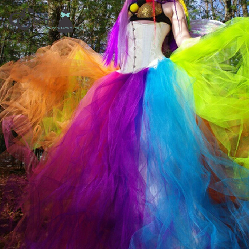 Adult Rainbow Tutu Skirt In Floor Women Tulle Long Halloween Christmas Party Celebrate Maxi Skirts From Womens Clothing Accessories On