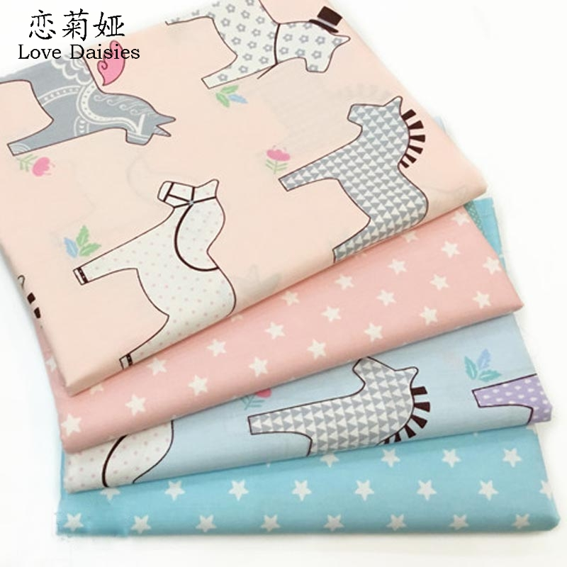100% cotton cartoon Trojan horse pink blue stars twill cloth DIY for kids cushion clothes dress handwork patchwork fabric tissue