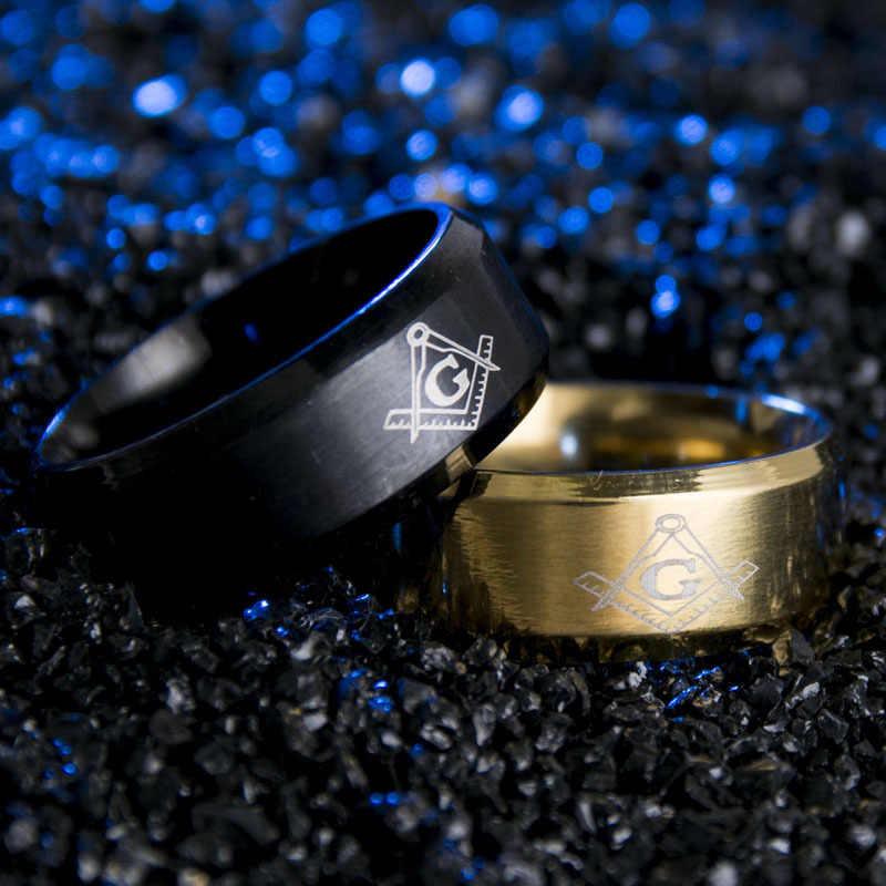 Eleple أسود الفضة الذهب اللون الرجعية الفولاذ المقاوم للصدأ حلقة 8 مللي متر للرجال الماسونية الهدايا الكلاسيكية بسيطة والمجوهرات بالجملة S-R05