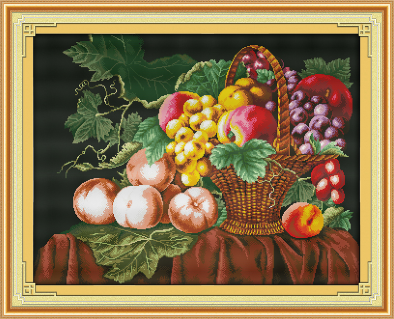 Fruit ,counted printed on fabric DMC 14CT 11CT Cross Stitch kits,embroidery needlework Sets, Home Decor