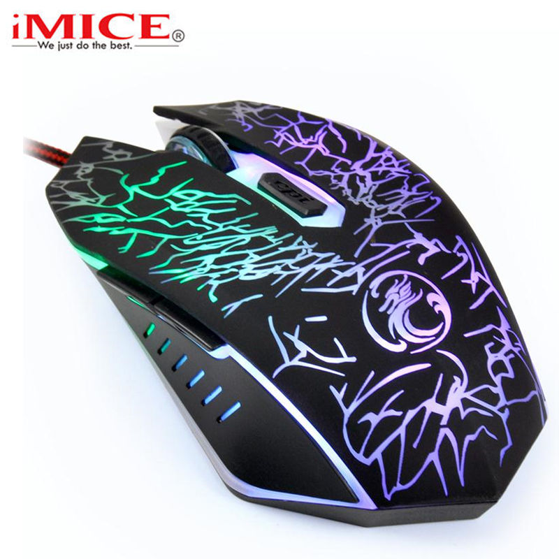 IMice 2017 New Professional Wired Gaming Mouse 3600DPI USB Optical Gamer Mouse 6 Buttons Professional Computer Mouse Ergonomic