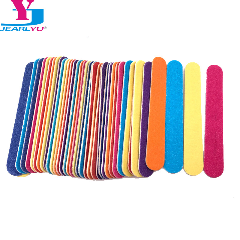 50 Pcs/lot Mini Nail Files 180/240 Colorful Wooden Nail File Lima Buffer Pedicure And ManicureLixa De Unha DIY Nail Tools Sets