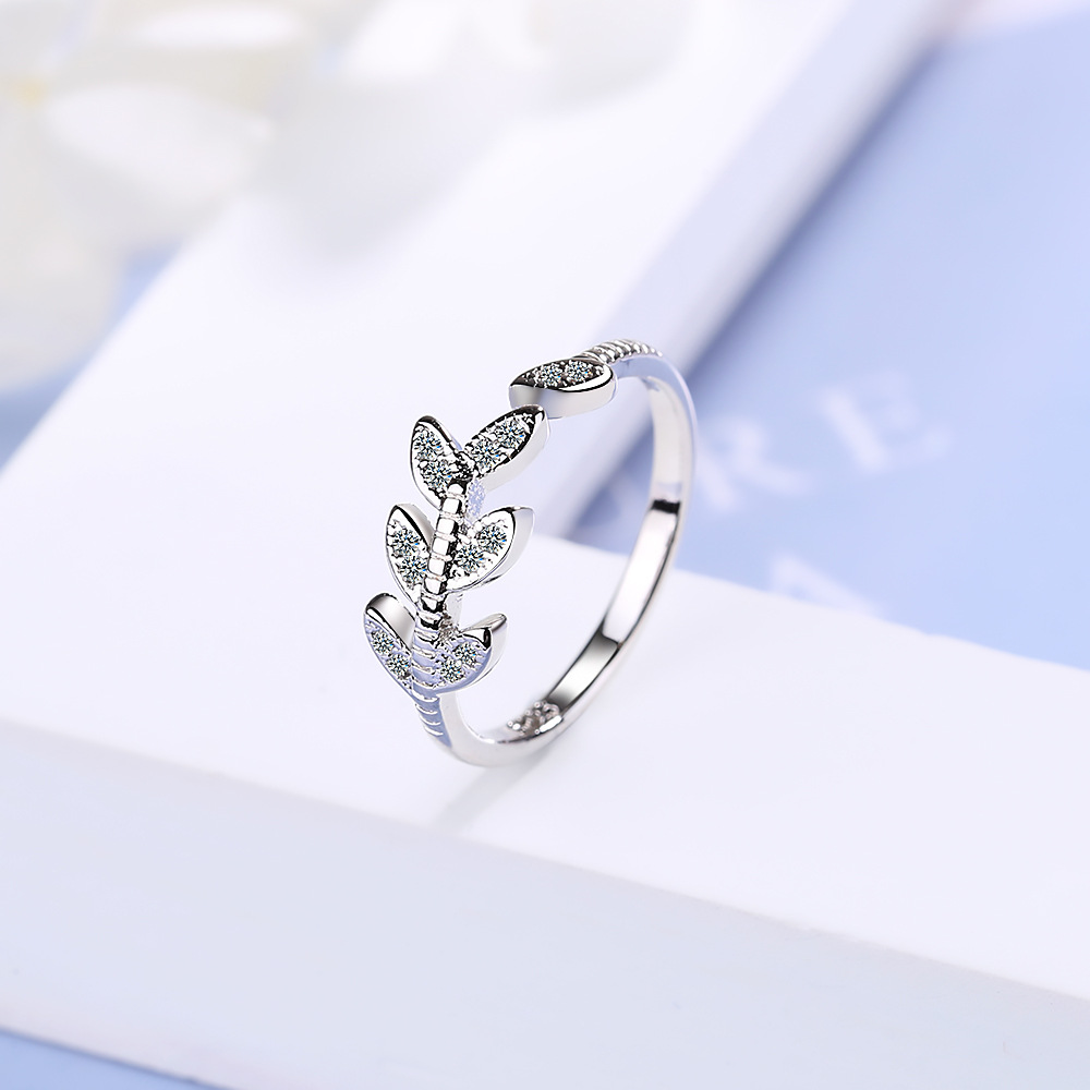 leaves adjustable rings silver jewelry (4)
