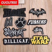 GUGUTREE embroidery black letter patches footprint patches badges applique patches for clothing YX-5(China)