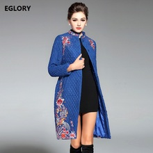 XXXL Women Long Coats 2017 Autumn Winter Female Plus Size Floral Embroidery Covered Button Casual Warm Long Coats Jacket 3xl 2xl