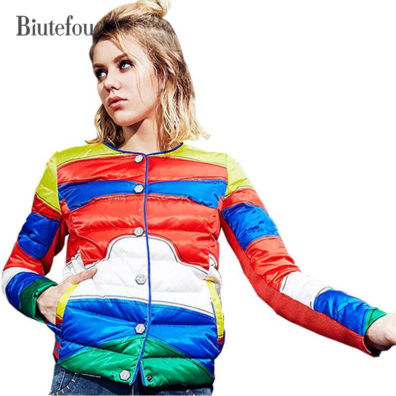 2018 New fashion winter slim down coats women streetwear outwear striped spliced light jackets