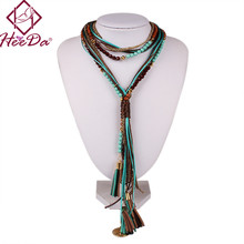 Hot-selling Boho Women Long Necklace Handmade Round Bead Tassel Neck Accessories Green Red Statement Jewelry Retro Style Bijoux