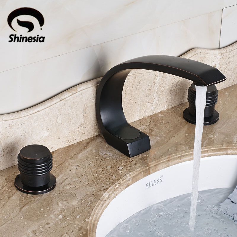 Widespread 3pcs Oil Rubbed Bronze Solid Brass Double Handles Bathroom Sink Faucet Deck Mount oil rubbed bronze deck mount two handles