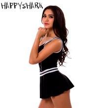 Happyshark женский купальник юбка Цельный платье с шортами боксерами