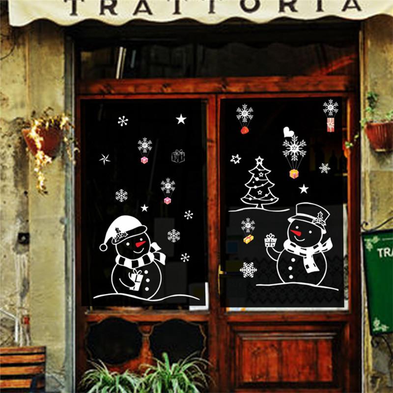 елка, снеговик рождество новый год магазин окно стикер рождественские украшения