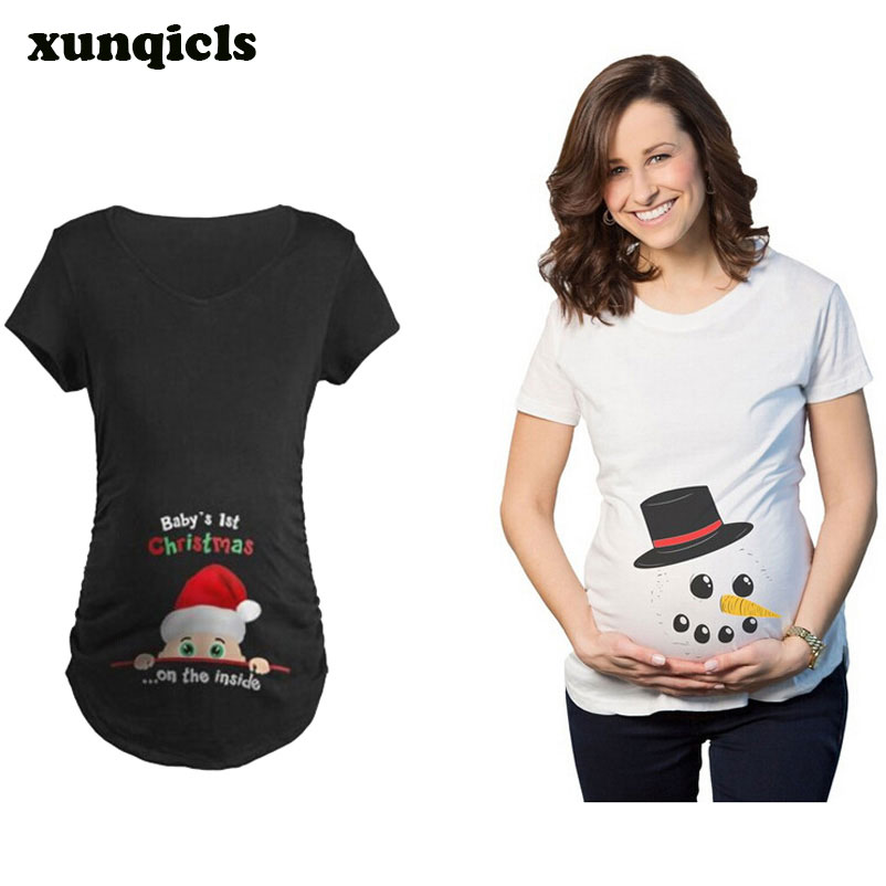 xunqicls Summer Maternity Top Funny Pregnant Short Sleeve Women Casual Cotton Tops Christmas Clothes cropped wide sleeve top