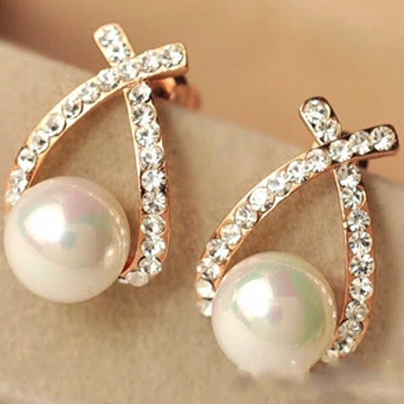 2016 nueva llegada envío gratis Venta al por mayor joyería moda circonita cúbica diamantes de imitación cristal perla pendientes para mujer e0156
