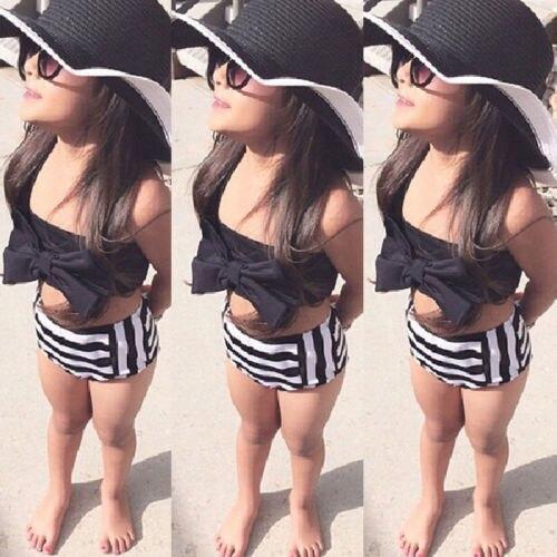 2018 Hot Fashion Kids Baby Girls Striped Bikini Suit Costume Bowknot Strap Tops Triangle Stripe Pants Swimwear Swimsuit
