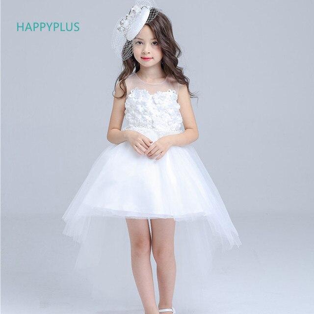 Happyplus Mouwen Elegante Meisje Ceremonie Witte Jurk Lange yY76Igvbf