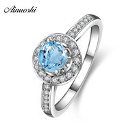 AINUOSHI 0.5ct Round Cut Natural Blue Topaz Halo Ring 925 Silver Engagement Ring Women Wedding Anniversary Party Jewelry Gift
