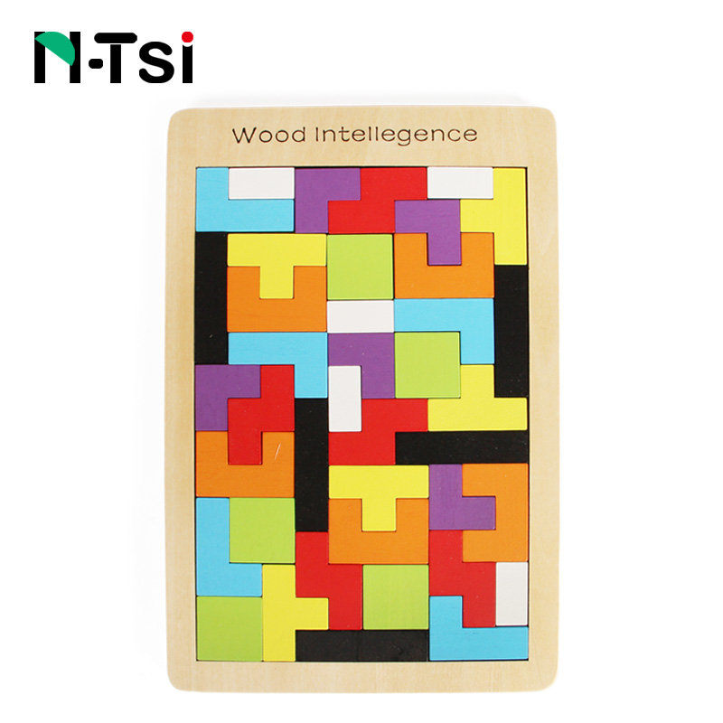 N-Tsi 40 Pieces Colorful Wooden Intelligence Jigsaw Puzzle Game Educational Toys For Children Kids Gift