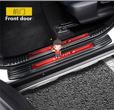 For TOYOTA C HR modified threshold bar C HR stainless steel carbon fiber door trim trim accessories interior trim|Nerf Bars & Running Boards| |  - title=