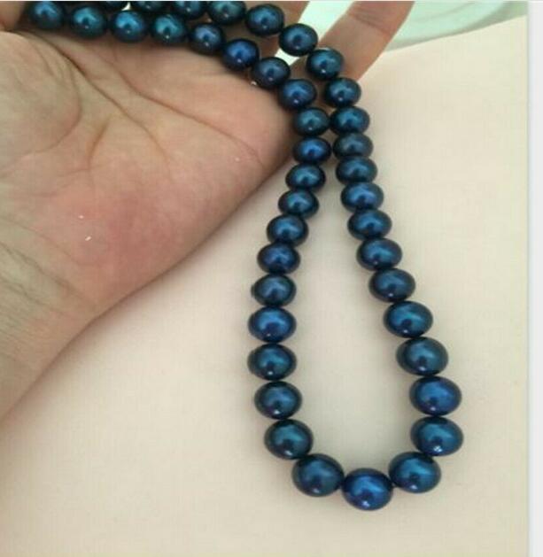 Mode femmes fête 10-11mm rond noir bleu collier de perles 18