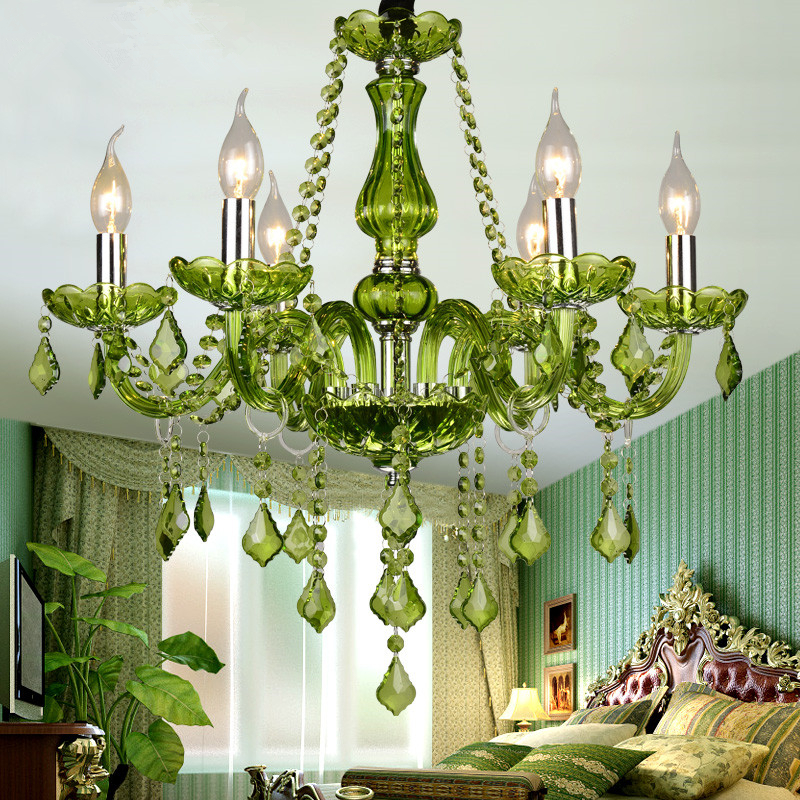 Green Crystal Chandelier Lighting E14 Ac 90 260v Shadeless Re Cristal Led Lamp Lampadario Luminaria Penntes Avize Lights In Chandeliers From