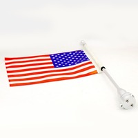 Luggage Rack Vertical Rear Side Mount Flag Pole With American Flag USA For Harley Davidson Honda