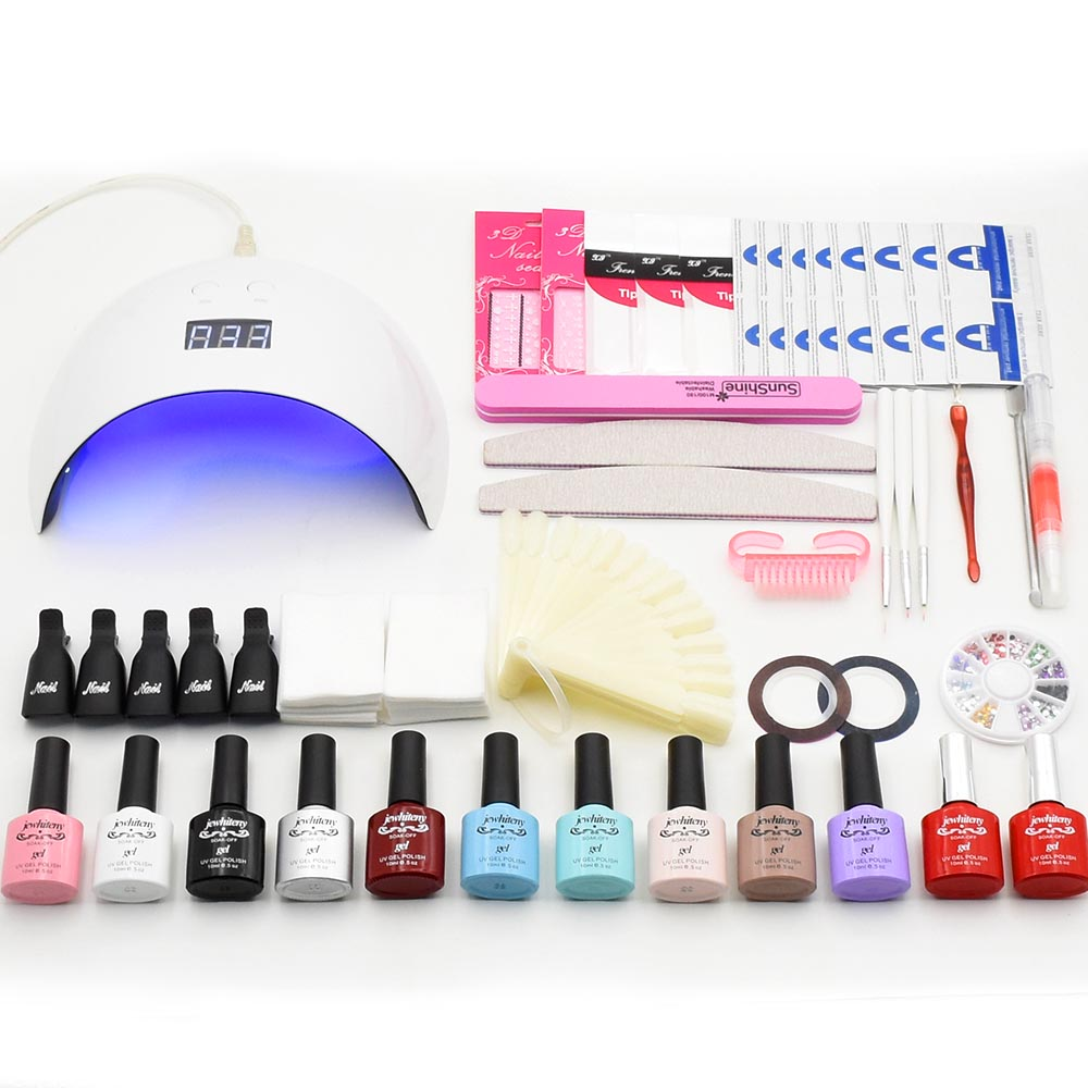 Nail Set Kit Nail Gel UV LED Lamp 10 colors Gel Polish UV Gel Extension gel Top Base coat Manicure tools Set tips file cutter nail art manicure tools set uv lamp 10 bottle soak off gel nail base gel top coat polish nail art manicure sets