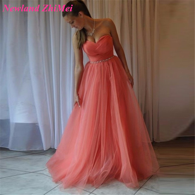 Beautiful Coral Long A Line Prom Dress Cheap Party Dresses for Women ...