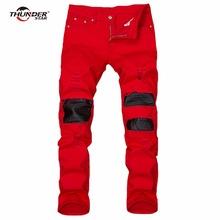 THUNDER STAR High Quality Mens Ripped Biker Jeans 100 Cotton Red Slim Fit Motorcycle Jeans Men