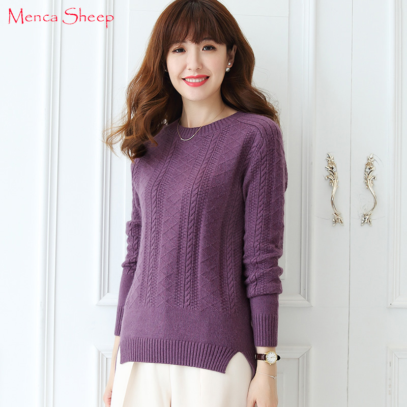 Menca Sheep Brand Women Sweaters New Arrival 100% Cashmere Pullovers Lady Fashion Knitwear Girls Oneck Jumpers Girls Clothes