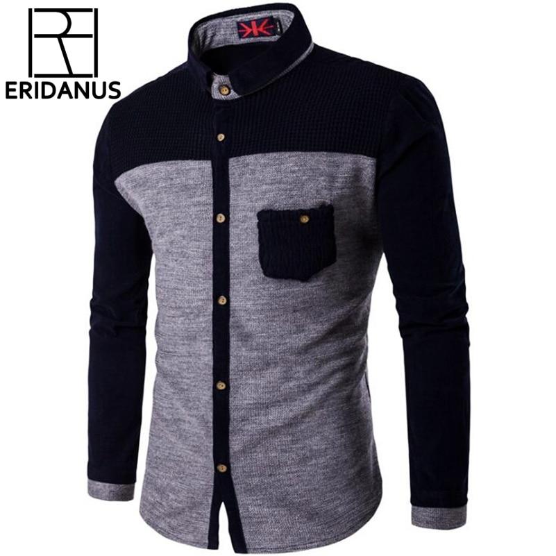 Örme Erkek Gömlek Uzun Kollu Pamuk Polyester Parchwork Gömlek - Erkek Giyim - Fotoğraf 1