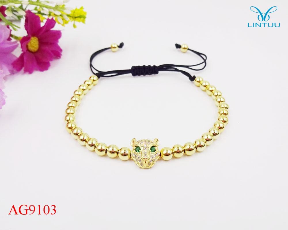 Famous Brand carter Women Bracelets Pave Setting Black CZ Beads & 18 Gold color 5mm Round Beads & Braiding Bracelet For Women