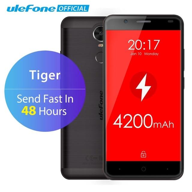 "Ulefone Tiger 4G Fingerprint ID Mobile Phone 5.5"" HD MTK6737 Quad Core Android 6.0 2GB RAM 16GB ROM 8MP Big battery Smartphone"