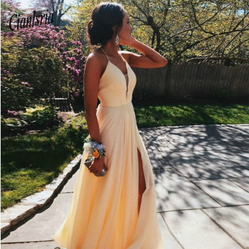 2020 New Arrival Sheer Neck Pale Yellow Evening Dress with Slit A Line Spaghetti Straps Prom Dresses