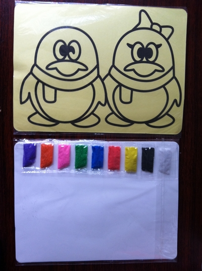 Color Sand Art Kit For Children 15x21cm Yellow Sticker Card With 9 Bags Of Color Sand(about 1g Each Color)