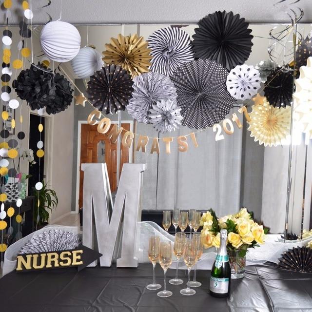 Sunbeauty 22pcs/set Graduation Party Decoration 2017 DIY Party Decor Paper Lantern Pom Poms Decoration Event Party Supplies