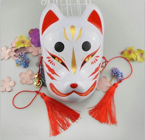 full face hand painted japanese fox mask kitsune cosplay masquerade halloween