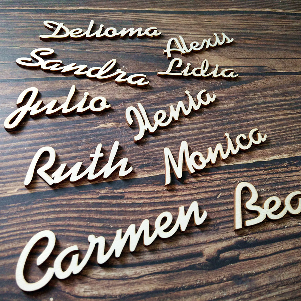 Deco 25pcs Place For Table Card Bonbonniere Names Personalized Wedding Guest Wooden Customized Wood Plan Place Setting Name