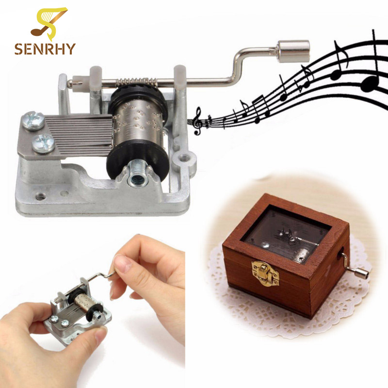 SENRHY 1Pcs 3 Songs DIY Mechanical Hand Crank Musical/Music Box for Childrens Kids Gift Present Vintage Style Parts Musicais