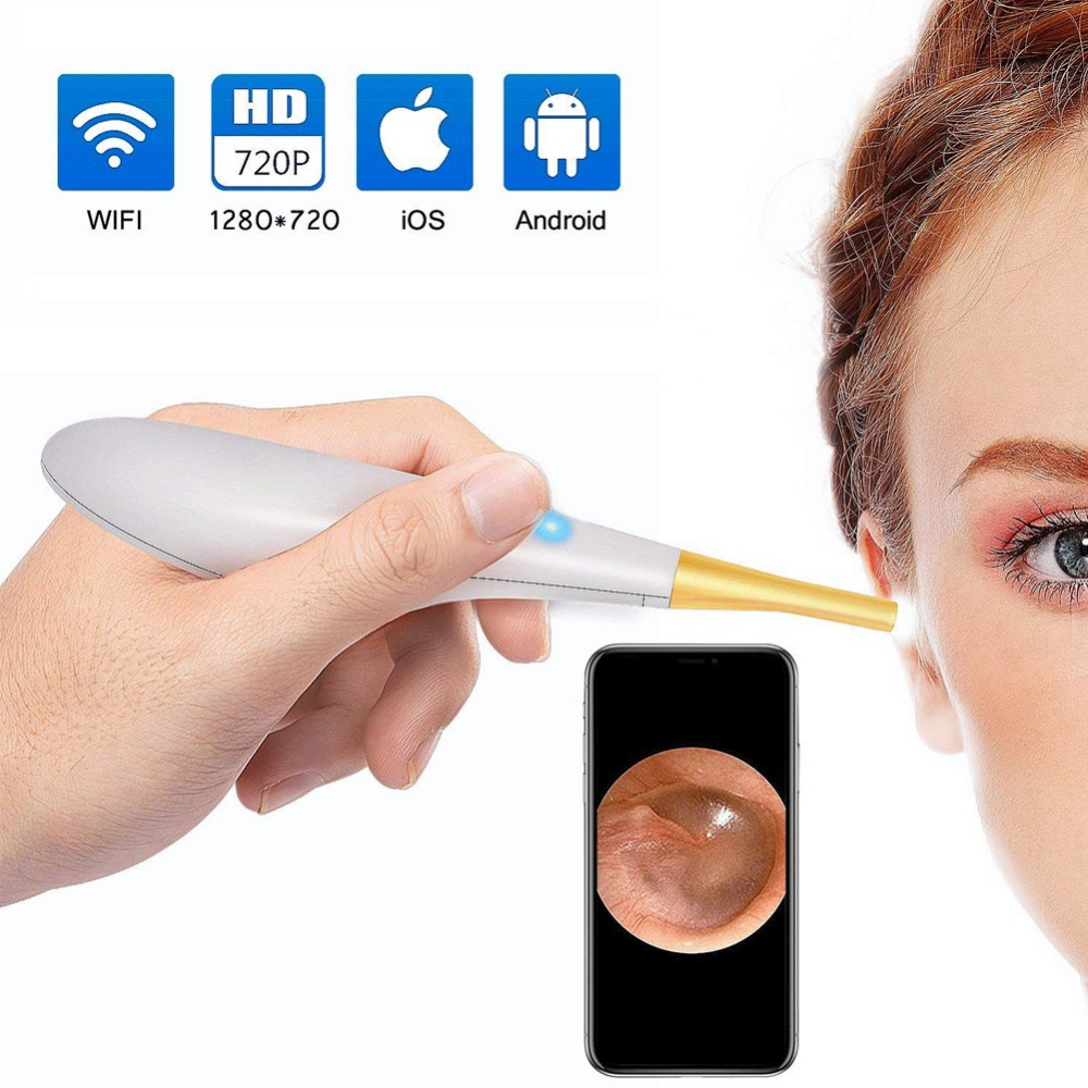 Ear Otoscope Wireless/WiFi Inspection With 6 LED Camera USB Otoscope Ear Scope Earwax Cleaning Tool for IOS Android PC #287865 ear care medical diagnostic tool 3 0 inch ear nose scope throat oral cavity otoscope tv video inspection camera lcd tool h7jp