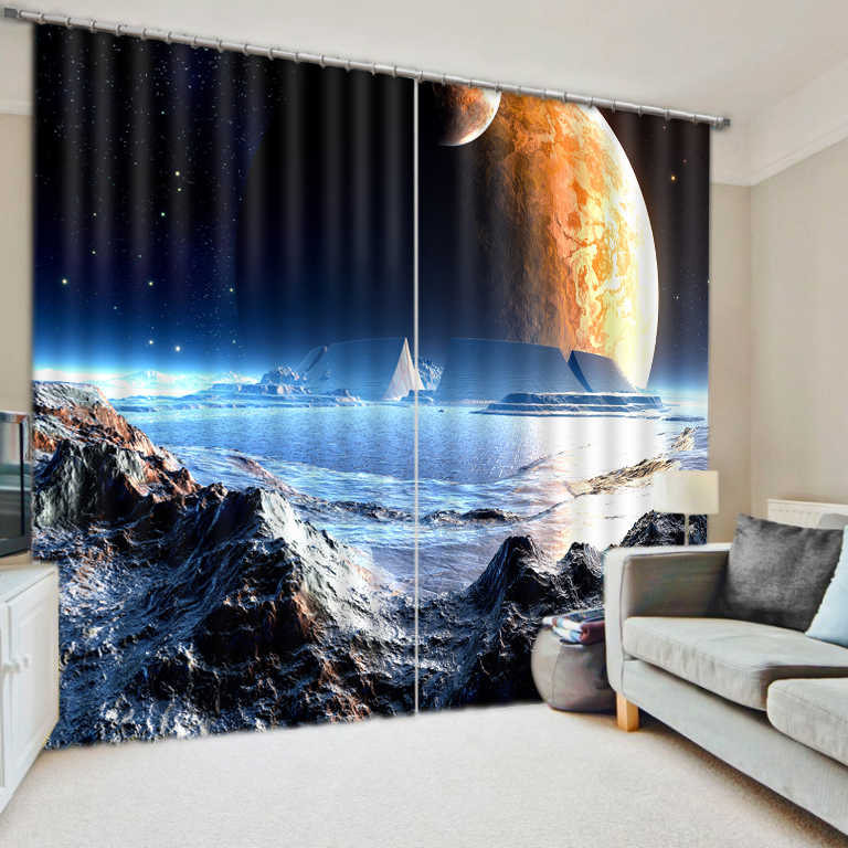 חלל החיצון 3D וילונות Creative סלון וילונות יקום ילדים חדר שינה וילונות Cortinas Blackout חלון וילון