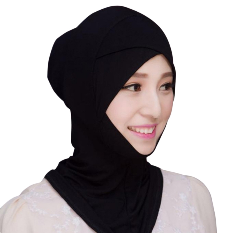Women Hijabs Muslim Hijab Stretch Turban Cotton Wrap Headscarf Rectangle Shawl Head Coverings Solid Color Hijabs
