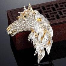 Blucome Men Animal Brooch Pins Fashion Statement Punk Horse Brooches Bijuteriras Collares Rhinestone Pins Brooch Enamel Broahces