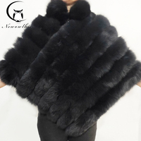 Natural fox fur shawl coat sleeveless cloak women's winter warm leather fur coat fox fur coat
