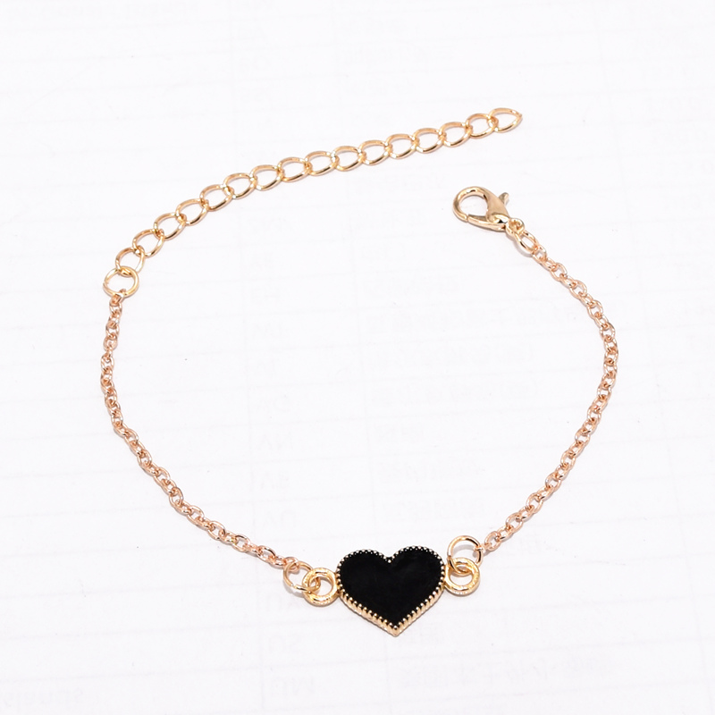 Hot Fashion Simple Black Red Drop Oil Butterfly Heart Shape Pendant Gold Color Chain Bangle Bracelet For Women Jewelry Bijoux