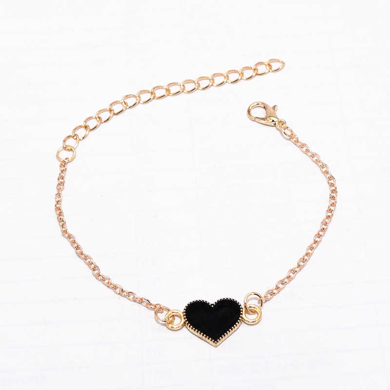 Hot Fashion Simple Black Red Drop Oil Butterfly Heart Shape Pendant Gold Color Chain Bangle Bracelet for Women Jewelry Bijoux