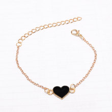 Hot Fashion Simple Black Red Drop Oil Butterfly Heart Shape Pendant Gold Color Chain Bangle Bracelet for Women Jewelry Bijoux(China)