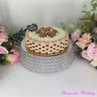 Beautiful Wedding Silver Iron Crystal Tray Cake Stand with Trapezoidal Shape Wedding Event Party Centerpieces