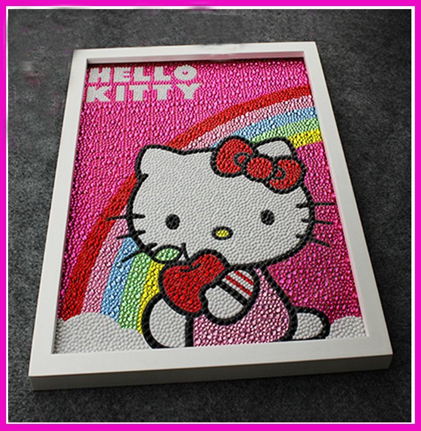 30 * 40 CM 5D Diy Diamond Kitty / Rainbow, Rhinestone redondo del diamante para Diy 5D Pintura completa del bordado del diamante para el bebé