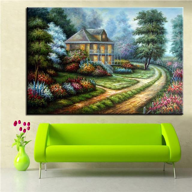 No Frame Home Printed Yard Thomas Kinkade Landscape Oil Painting